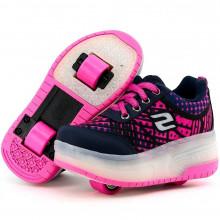 Tenis Feminino Infantil Rosa com Duas Rodinhas e LED