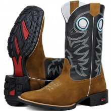 Bota Masculina Texana Bordada Country Azul