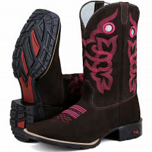 Bota Masculina Texana Bordada Country Rosa