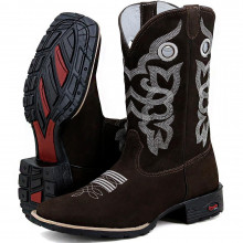 Bota Masculina Texana Bordada Country Preto