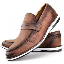 Sapato Casual Oxford Masculino Couro Marrom