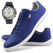 Sapatenis Neway SW Masculino Azul + Relógio