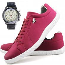 Sapatenis Neway SW Masculino Vermelho + Relógio