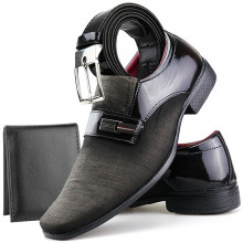 Sapato Social Neway Masculino Marrom + Cinto + Carteira