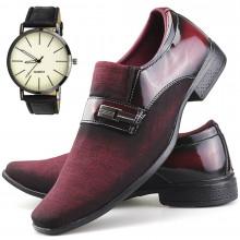 Sapato Social Neway Masculino Vermelho + Relógio