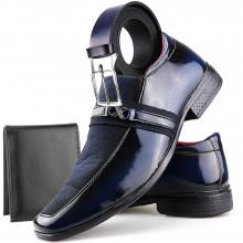 Sapato Social Neway Masculino Azul + Cinto + Carteira
