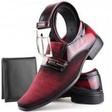 Sapato Social Neway Masculino Vermelho + Cinto + Carteira